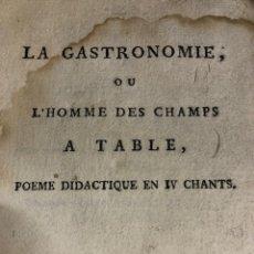 Libros antiguos: LA GASTRONOMÍA O EL HOMBRE DEL CAMPO EN LA MESA J DELILLE - 1803 - FRANCÉS. Lote 264359334