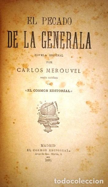 Libros antiguos: El pecado de la generala por Charles Mérouvel de Biblioteca El Cosmos Editorial en Madrid 1891 - Foto 3 - 264521299