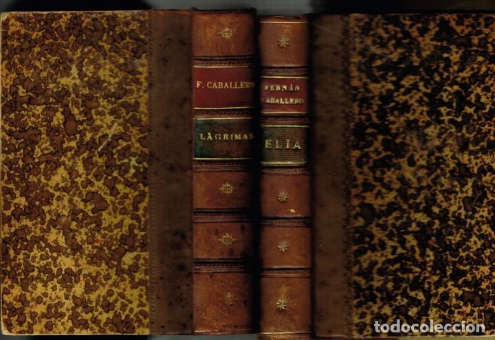 DOS TOMOS OBRAS COMPLETAS DE FERRAN CABALLERO LÁGRIMAS NOVELAS 1900 (Libros antiguos (hasta 1936), raros y curiosos - Literatura - Narrativa - Otros)