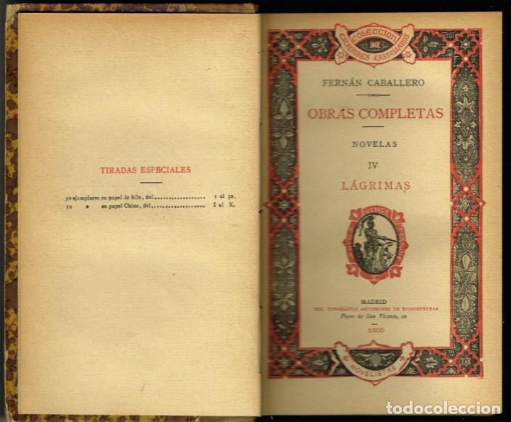 Libros antiguos: DOS TOMOS OBRAS COMPLETAS DE FERRAN CABALLERO LÁGRIMAS NOVELAS 1900 - Foto 2 - 264701519
