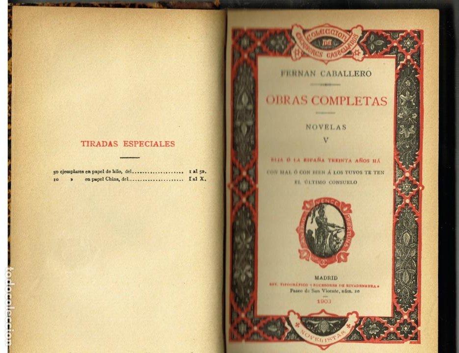 Libros antiguos: DOS TOMOS OBRAS COMPLETAS DE FERRAN CABALLERO LÁGRIMAS NOVELAS 1900 - Foto 3 - 264701519