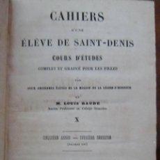 Libros antiguos: CAHIERS D'UNE ÉLÈVE DE SAINT-DENIS 10 - 1853 - EN FRANCÉS - LOMO CUERO. Lote 265938043