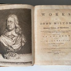 Livres anciens: THE WORKS OF JOHN MILTON , HISTORICAL , POLITICAL . 1753 , INGLES , 2 TOMOS , LONDON. Lote 266065523