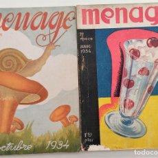 Libros antiguos: DOS REVISTAS MENAGE DE JULIO Y OCTUBRE DE 1934 - BUEN ESTADO. Lote 266096788