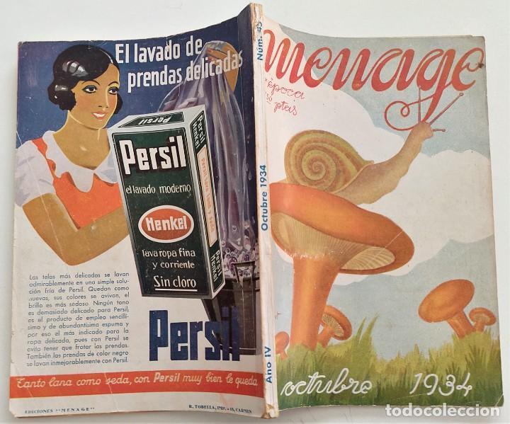 Libros antiguos: DOS REVISTAS MENAGE DE JULIO Y OCTUBRE DE 1934 - BUEN ESTADO - Foto 2 - 266096788