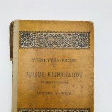 """Livres anciens: KLINKHARDT, JULIUS.""""VIGNETTEN-PROBE DER SCHRIFTGIESSEREI""""/JULIUS KLINKHARDT IN LEIPZIG UND WIEN.1885. Lote 266103693"""