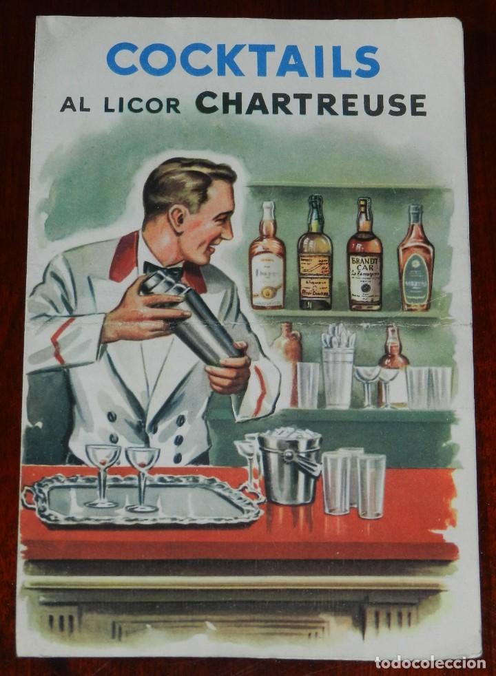 PUBLICIDAD DE COCKTAILS AL LICOR CHARTREUSE. 11 FÓRMULAS, DIPTICO, MIDE 18 X 12 CMS. (Libros Antiguos, Raros y Curiosos - Cocina y Gastronomía)