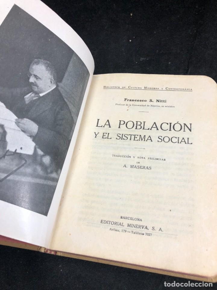 LA POBLACIÓN Y EL SISTEMA SOCIAL. FRANCESCO S. NITTI. CIENCIAS SOCIALES, DEMOGRAFÍA. 1920 (Libros Antiguos, Raros y Curiosos - Ciencias, Manuales y Oficios - Otros)