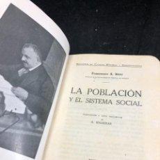 Libros antiguos: LA POBLACIÓN Y EL SISTEMA SOCIAL. FRANCESCO S. NITTI. CIENCIAS SOCIALES, DEMOGRAFÍA. 1920. Lote 267130534