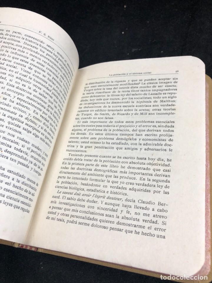 Libros antiguos: La Población y el Sistema Social. Francesco S. Nitti. Ciencias Sociales, Demografía. 1920 - Foto 9 - 267130534