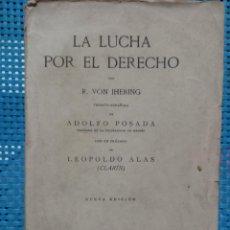 Libri antichi: R. VON IHERING - LA LUCHA POR EL DERECHO - PRÓLOGO DE LEOPOLDO ALAS (CLARÍN) 1921 VICTORIANO SUÁREZ. Lote 267149189