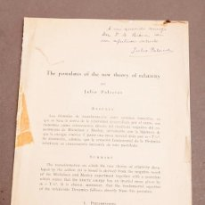 Libros antiguos: JULIO PALACIOS : THE NEW POSTULATES OF THE NEW THEORY OF RELATIVITY. SIGNED / INSCRIBED BY AUTHOR. Lote 268293524