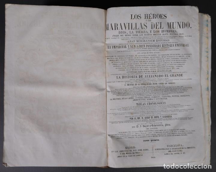 Libros antiguos: Los héroes y las maravillas del mundo - Tomo quinto 1855 - Foto 8 - 268846949