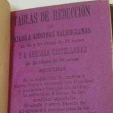 Libros antiguos: TABLAS DE REDUCCION DE KILOS A ARROBAS VALENCIANAS Y ARROBAS CASTELLANAS 1896. Lote 268938329