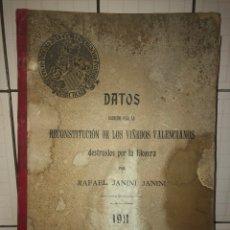 Libros antiguos: DATOS REUNIDOS PARA LA RECONSTITUCIÓN DE LOS VIÑEDOS VALENCIANOS DESTRUIDOS POR LA FILOXERA-1911.. Lote 269000634