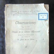 Libros antiguos: JUAN DE LA CIERVA. OBSERVACIONES SUGERIDAS POR LOS DISCURSOS PRONUNCIADOS EN EL CÍRCULO DE LA UNIÓN. Lote 269063363
