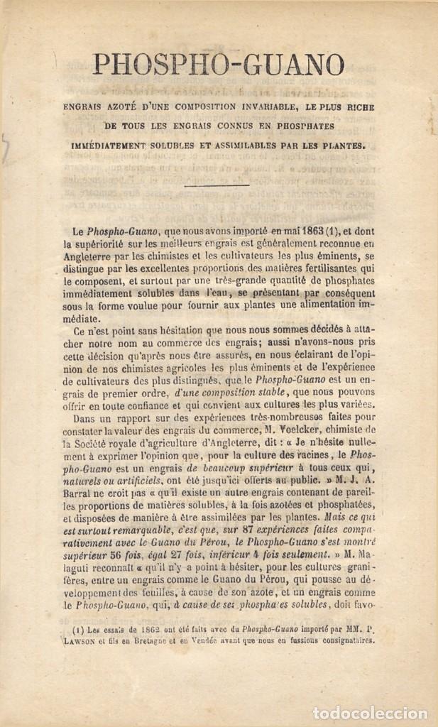 PHOSPHO-GUANO. ENGRAIS AZOTÉ D'UNE COMPOSITION INVARIABLE, E PLUS RICHE DE TOUS LES... S.A. (1865). (Libros Antiguos, Raros y Curiosos - Ciencias, Manuales y Oficios - Otros)