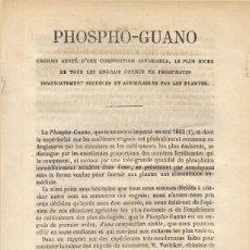 Libros antiguos: PHOSPHO-GUANO. ENGRAIS AZOTÉ D'UNE COMPOSITION INVARIABLE, E PLUS RICHE DE TOUS LES... S.A. (1865).. Lote 269071628