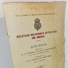 Libros antiguos: FERNANDO ALVAREZ DE SOTOMAYOR ... NUESTRAS RELACIONES ARTISTICAS CON AMERICA ... 1922. Lote 269157618
