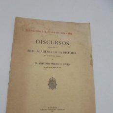 Libros antiguos: DISCURSO LEIDOS ANTE LA REAL ACADEMIA DE LA HISTORIA. D. ANTONIO PRIETO Y VIVES. 1929. PAGS. 29.. Lote 269199533
