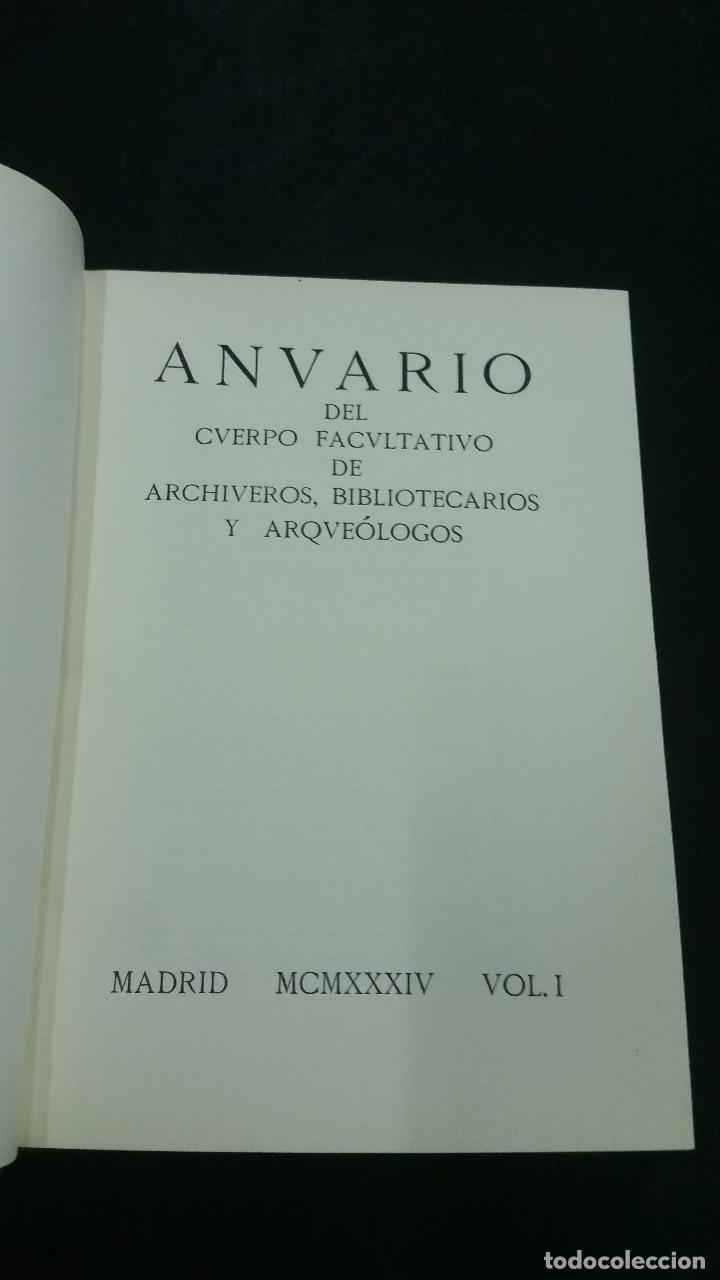 Libros antiguos: 1934 - Anuario del cuerpo de Archiveros, Bibliotecarios y Arqueólogos. 3 tomos. Homenaje A MÉLIDA - Foto 3 - 269230433
