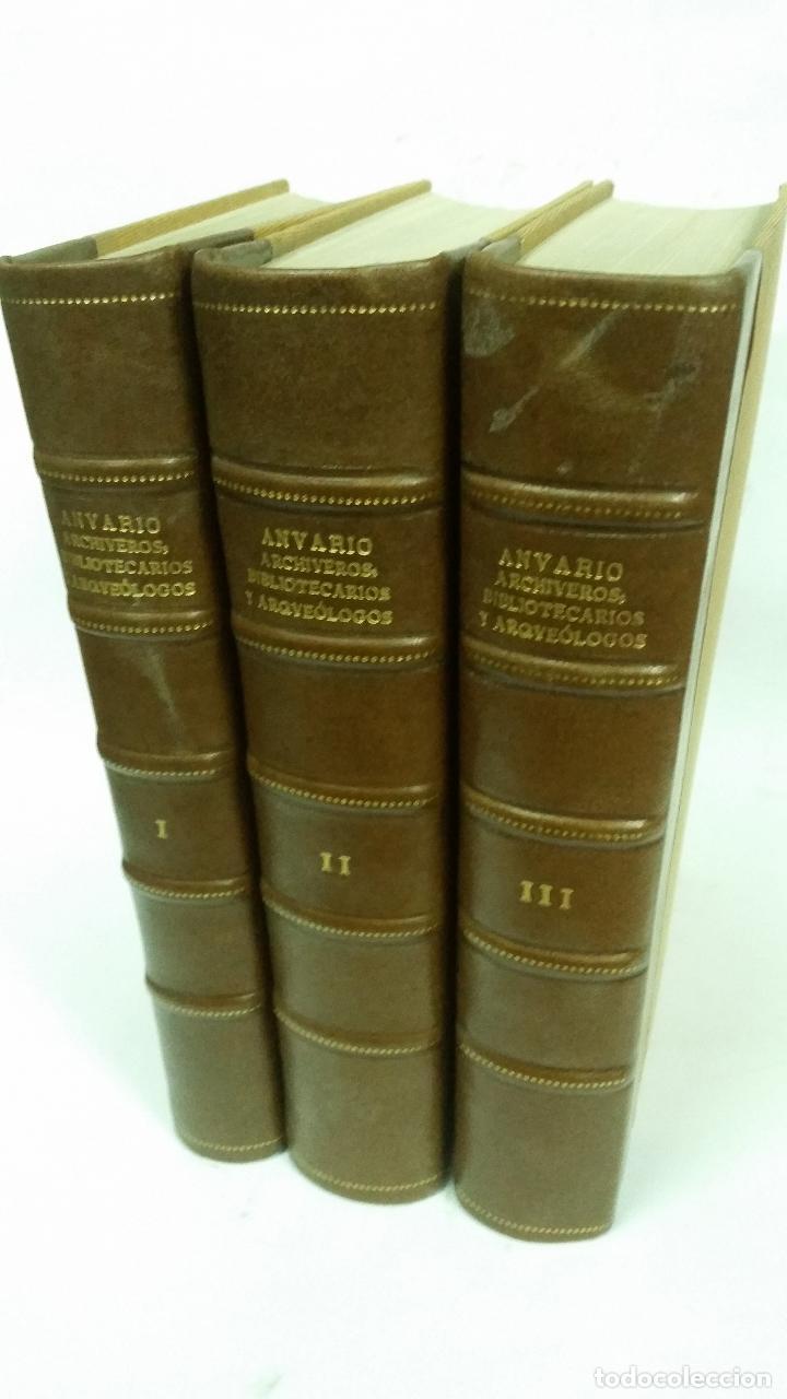 1934 - ANUARIO DEL CUERPO DE ARCHIVEROS, BIBLIOTECARIOS Y ARQUEÓLOGOS. 3 TOMOS. HOMENAJE A MÉLIDA (Libros Antiguos, Raros y Curiosos - Historia - Otros)