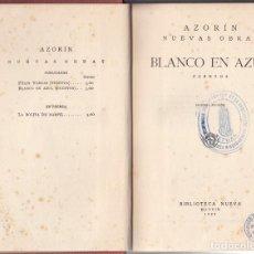 Libri antichi: AZORÍN. BLANCO EN AZUL - CUENTOS. ESPASA CALPE, MADRID 1929.. Lote 269293598