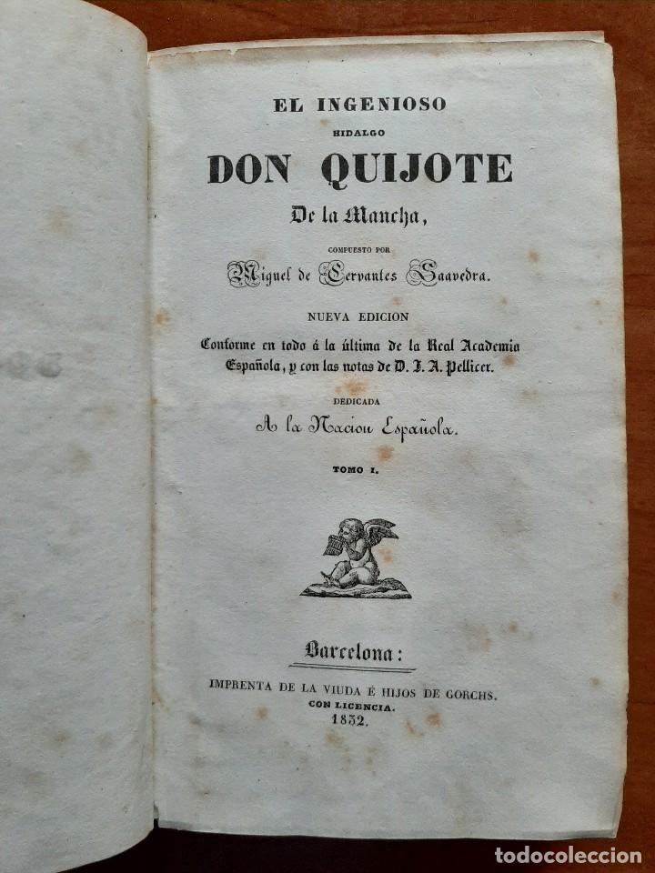 Libros antiguos: 1832 DON QUIJOTE - CERVANTES / TOMO I - 4 LÁMINAS - Foto 2 - 269626258