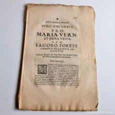 Libros antiguos: 1603 - IVRIS DISCVRSVS PRO MARIA VERN - MUY ANTIGUO - 10 HOJAS - 21 X 32.CM. Lote 269933918