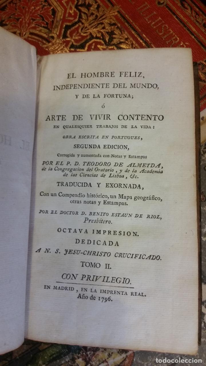 Libros antiguos: 1796 - TEODORO DE ALMEIDA - El hombre feliz, independiente del mundo, y de la fortuna II - GRABADOS - Foto 3 - 270571643