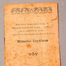 Libros antiguos: SEÑALES DISTINTIVAS DE LAS MONEDAS ILEGÍTIMAS - 1908 - NUMISMÁTICA - DIRECCIÓN GENERAL DEL TESORO. Lote 270620628