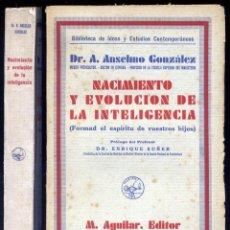 """Libros antiguos: GONZÁLEZ, A. NACIMIENTO Y EVOLUCIÓN DE LA INTELIGENCIA. 1930 [""""BIB. DE IDEAS Y ESTUDIOS CONTEM...""""]. Lote 271369213"""