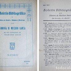 Libros antiguos: GARCIA MORENO, MELCHOR. BOLETÍN BIBLIOGRÁFICO DE LA LIBRERIA DE... Nº 51. 1923.. Lote 271385193