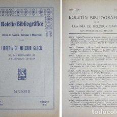 Libros antiguos: GARCIA MORENO, MELCHOR. BOLETÍN BIBLIOGRÁFICO DE LA LIBRERIA DE... Nº 48. 1920.. Lote 271385743