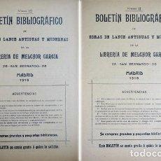 Libros antiguos: GARCIA MORENO, M. BOLETÍN BIBLIOGRÁFICO DE LA LIBRERIA DE... Nº 10-11-12-13-15-17 Y 21. 1910-1912.. Lote 271386873