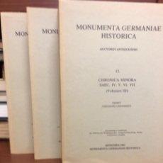 Libros antiguos: CHRONICA MINORA MOMMSEN MONUMENTA GERMANIAE HISTORICA. Lote 271961778