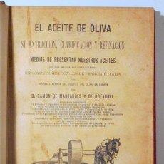 Libros antiguos: MANJARRÉS Y DE BOFARULL, RAMON DE - EL ACEITE DE OLIVA - MADRID 1896 - MUY ILUSTRADO. Lote 272420653