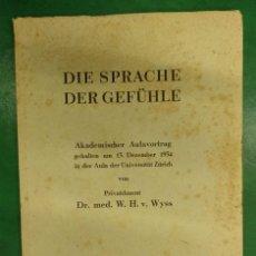 Livres anciens: DIE SPRACHE DER GEFULE (ZURICH 1935). Lote 273136563