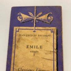 Libros antiguos: ANTIGUO LIBRO ÉMILE. EN FRANCÉS. POR ÉMILE-PIERRE DUHARCOURT. Lote 273927288