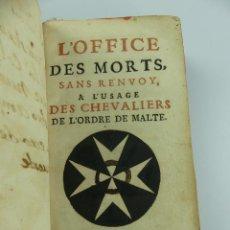 Livres anciens: LOFFCE DES MORTS SANS RENVOY PARIS AÑO 1741. Lote 275919928