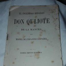 Libros antiguos: ANTIGUO LIBRO EL INGENIOSO HIDALGO D.QUIJOTE DE LA MANCHA MIGUEL D CERVANTES PRIMERA EDICIÓN AÑO1881. Lote 275971103