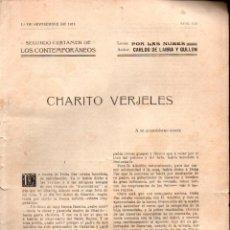 Libros antiguos: DE LARRA Y GULLÓN : CHARITO VERGELES (LOS CONTEMPORÁNEOS, 1911). Lote 276245153