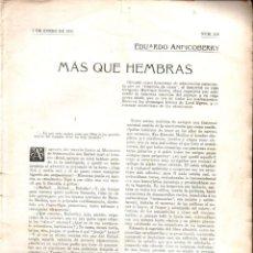 Libros antiguos: EDUARDO ANDICOBERRY : MÁS QUE HEMBRAS (LOS CONTEMPORÁNEOS, 1913). Lote 276245433