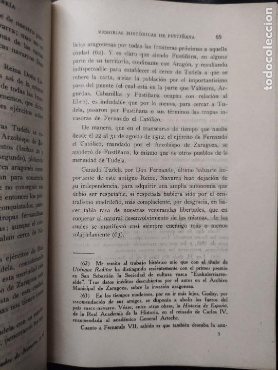 Libros antiguos: MEMORIAS HISTORICAS DE FUSTIÑANA (NAVARRA) - JUAN P. ESTEBAN CHAVARRIA 1930 -FIRMADO Y DEDICADO AUT - Foto 4 - 276380248