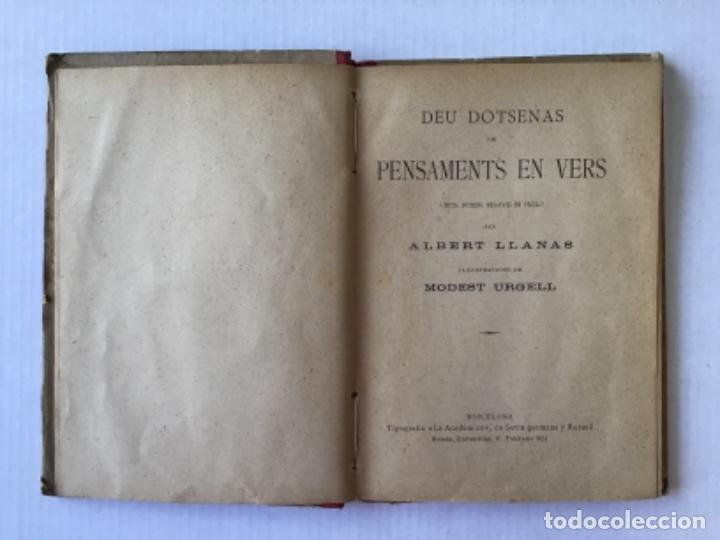 Libros antiguos: DEU DOTSENAS DE PENSAMENTS EN VERS. (Mitja dotsena dexatats en prosa.) - LLANAS, Albert. - Foto 2 - 123208672