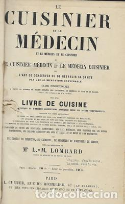 Libros antiguos: Le cuisinier et le medecin, et la medecin et le cuisinier. 2 tomos en 1 - LOMBARD L-M - Foto 2 - 276812808