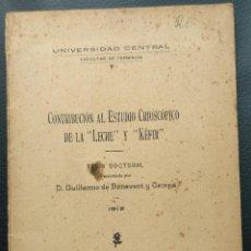 """Libros antiguos: CONTRIBUCIÓN AL ESTUDIO CRIOSCÓPICO DE LA """"LECHE"""" Y EL """"KEFIR"""", 1912 YOGHURT. Lote 276818588"""