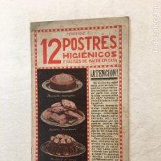 Libros antiguos: FERRANDIZ. 12 POSTRES HIGIÉNICOS Y FÁCILES DE HACER EN CASA. LIBRERIA SINTES. BARCELONA. AÑOS 20.. Lote 276939178