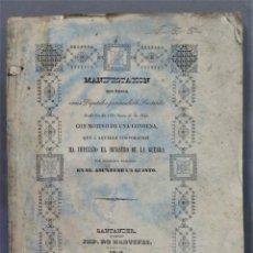 Libros antiguos: 1842.- MANIFESTACION VARIOS DIPUTADOS SANTANDER CON MOTIVO DE CONDENA IMPUESTA POR MINISTRO GUERRA A. Lote 276962743