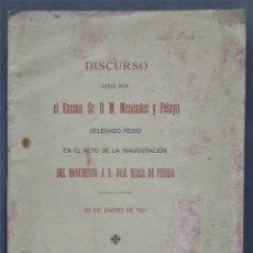 Libros antiguos: MONUMENTO A D. JOSÉ MARÍA DE PEREDA. DISCURSO LEÍDO POR EL EXCMO. SR. D. M. MENENDEZ Y PELAYO. Lote 277086313